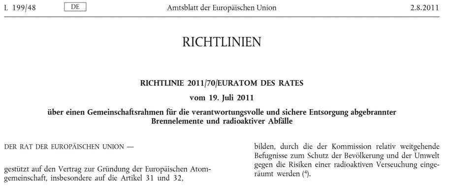 Titel_EU_Gesetz_EURATOM-DES-RATES-vom-19.-Juli-2011-über-einen-Gemeinschaftsrahmen-für-die-verantwortungsvolle-und-sichere-Entsorgung-abgebrannter-Brennelemente-und-radioaktiver-Abfälle_CELEX_32011L0070_DE_TXT-1