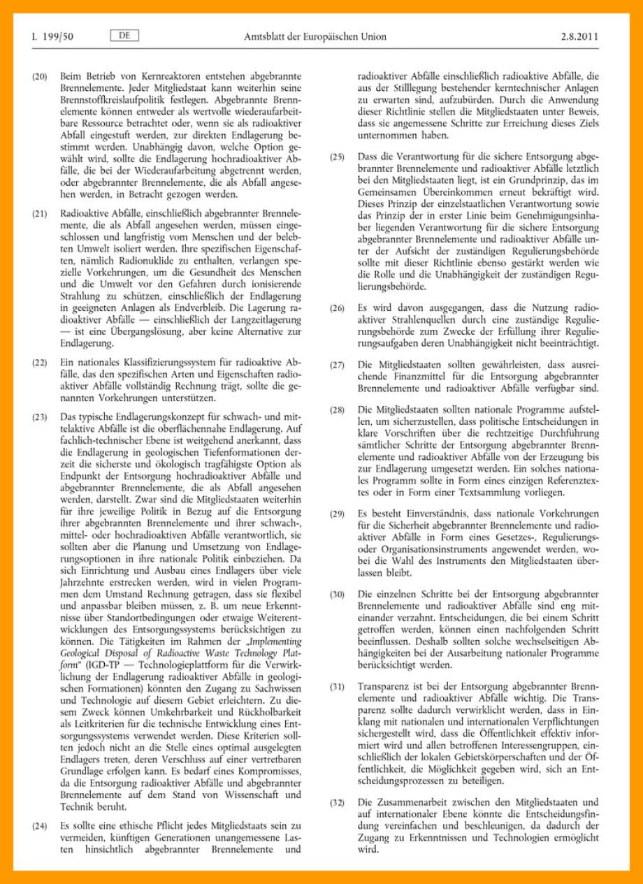 Text_EU_Gesetz_Endlagerung_EURATOM-DES-RATES-vom-19.-Juli-2011-über-einen-Gemeinschaftsrahmen-für-die-verantwortungsvolle-und-sichere-Entsorgung-abgebrannter-Brennelemente-und-radioaktiver-Abfälle_CELEX_32011L0070_DE_TXT-3