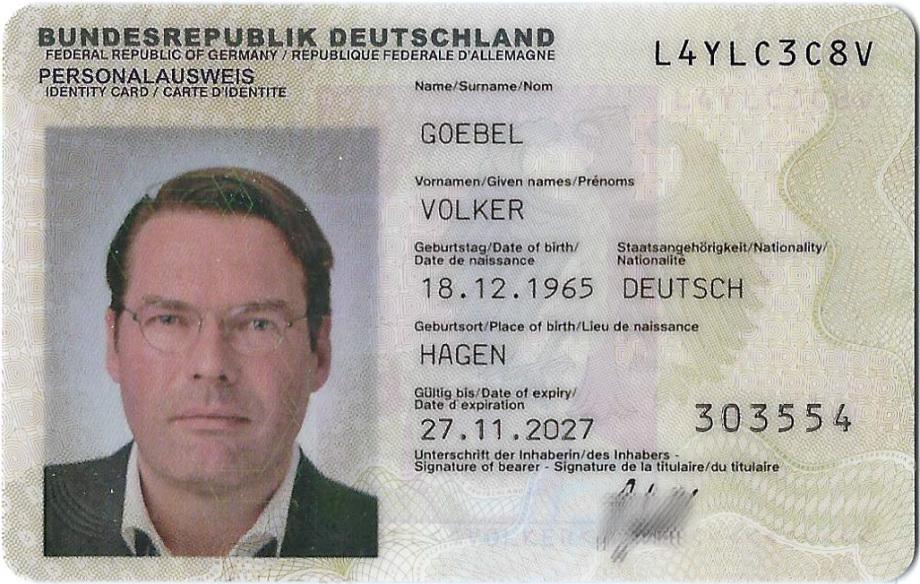 Vorderseite Personalausweis Dipl.-Ing. Volker Goebel