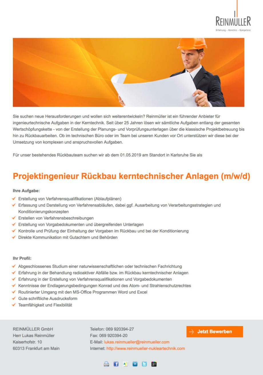 Stellenangebot_Rückbau_Projekt_Ingenieur_Reinmüller