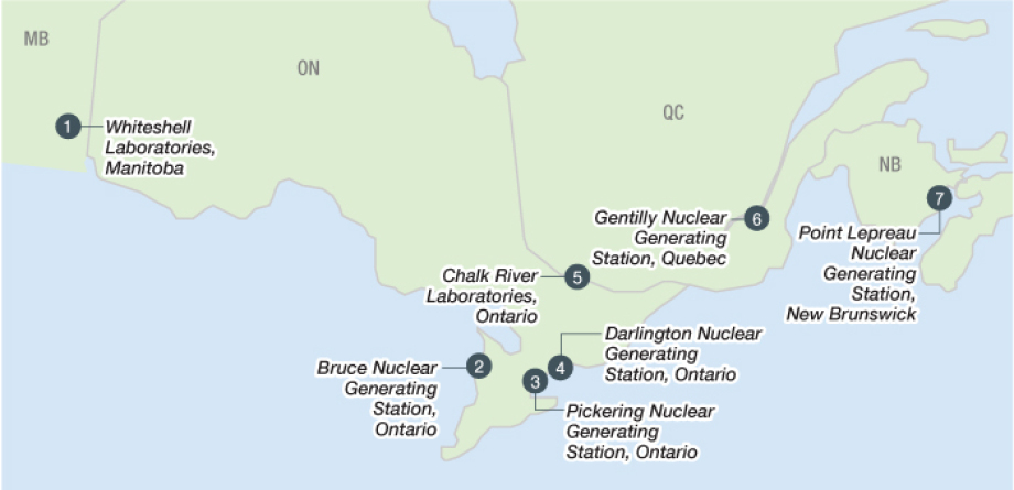 Main nuclear interim storage locations Pickering, Darlington, Bruce are close to the water ...