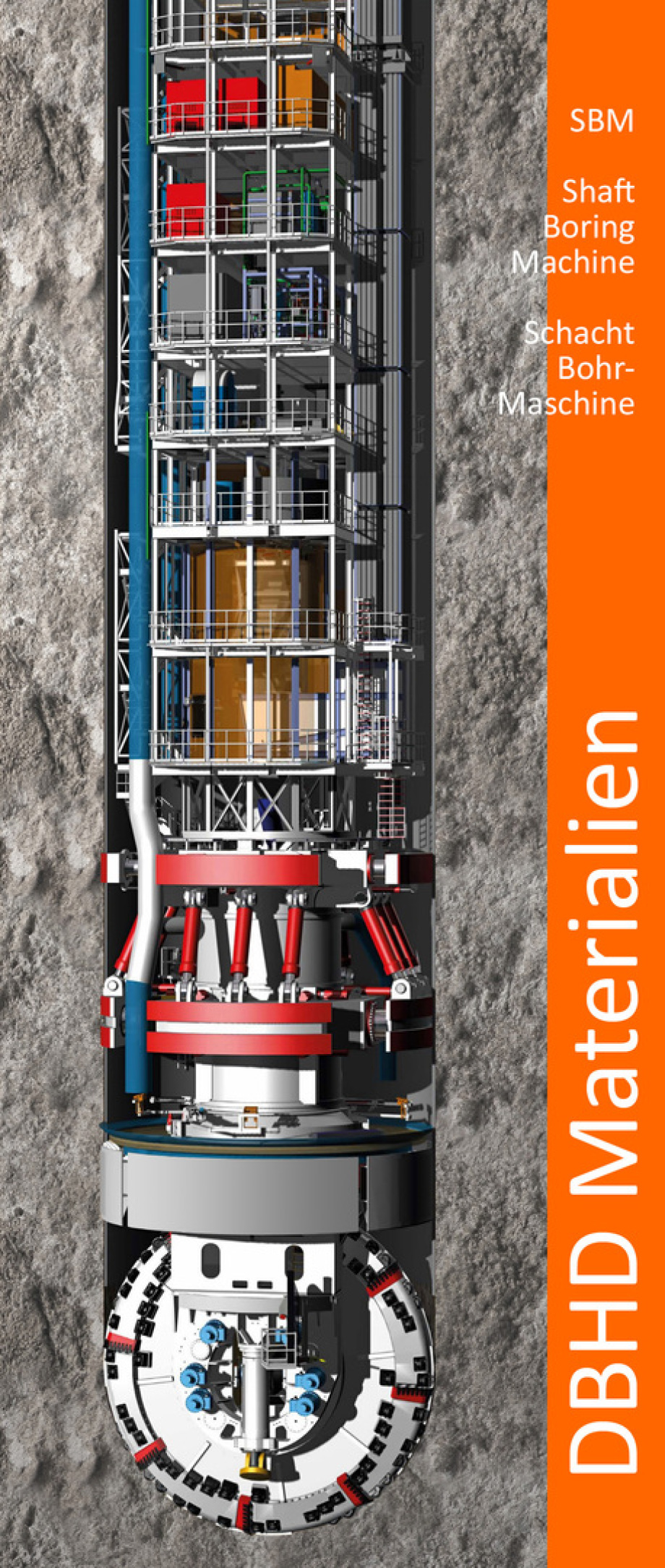 SBM - Shaft Boring Machine - cost 50 Mio. EUR - 2 years delivery time - goes down -2.000 to -3.000 Meters - 2 different specifications