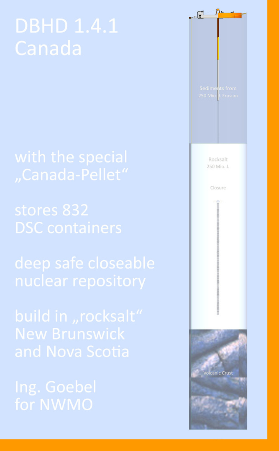"""DBHD 1.4.1 Canada - with the special """"Canada-Pellet"""" stores 832 """"old"""" DSC containers in a deep, safe, closeable nuclear repository in rocksalt New Brunswick, Nova Scotia"""