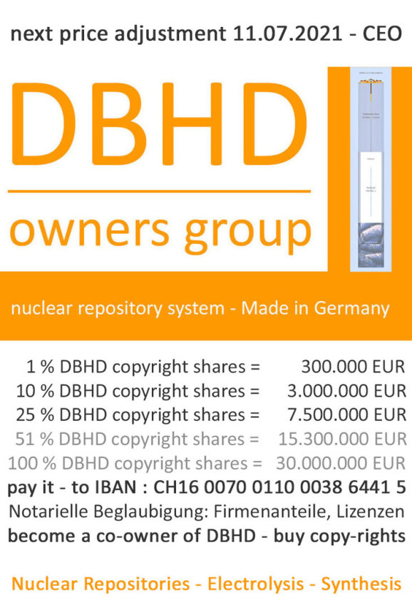 buy DBHD copy right shares - become an owner on the best nuclear repository concept