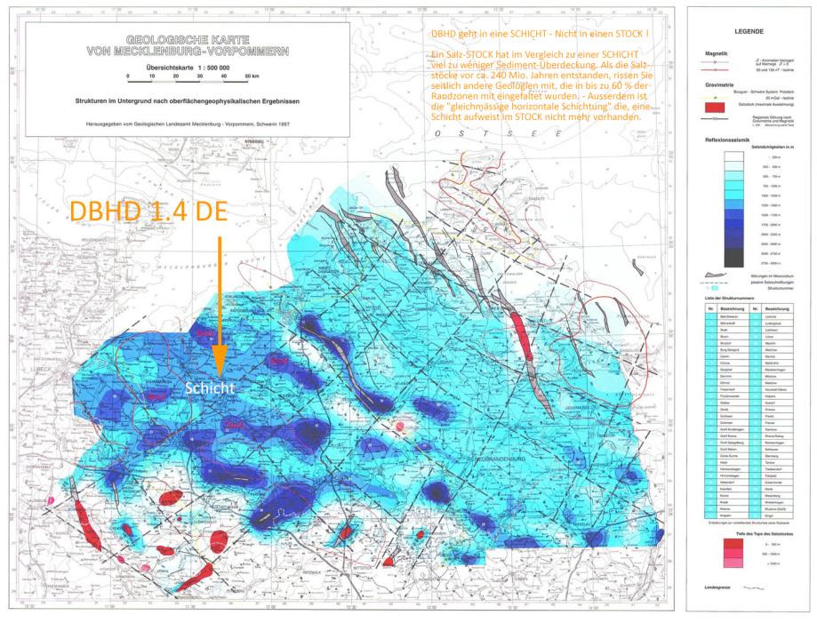 Standort DBHD in der geologischen Karte - Endlager Standort nahe Glasin in M-V BRD