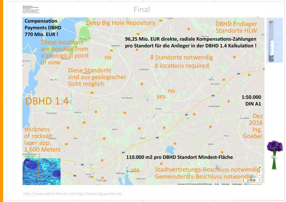Karte möglicher Standorte für DBHD - Strassenkarte