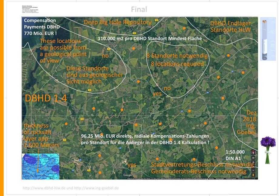 Karte möglicher Standorte für DBHD - Satellitenbild