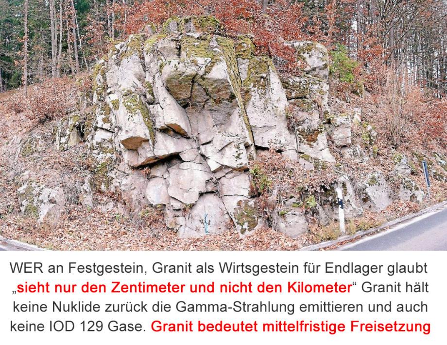 Granit ist als Wirtsgestein für Endlager überhaupt nicht tauglich - klüftig, kleinräumig klüftig und niemals in der Lage einen einschlusswirksamen Gebirgsbereich nachzuweisen