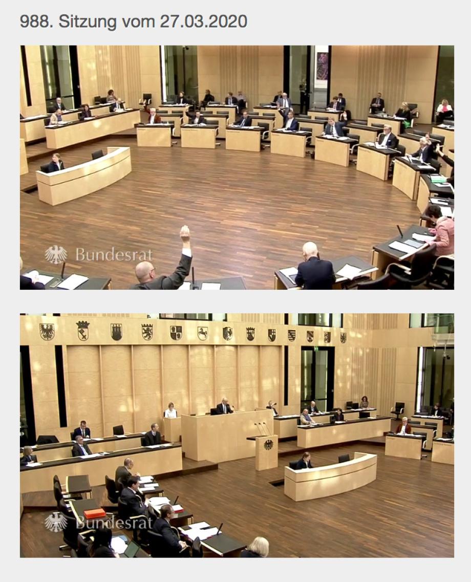 Foto der letzen Sitzung des Bundesrates (Länderkammer)