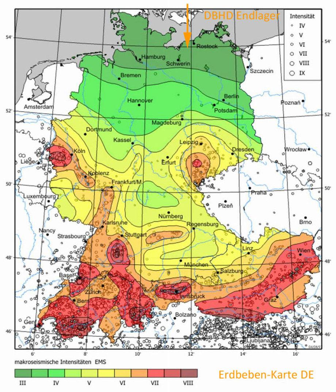 Karte Erdbeben-Zonen Deutschland - DBHD Endlager Standort im seismisch unauffälligen Norddeutschen Becken