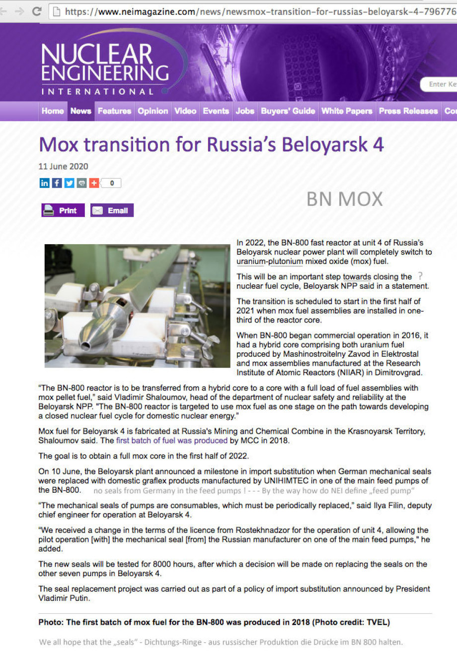 Hello NEI - Thanks for mentioning the russian seals and for the high res photo of the BN MOX FUEL ROD