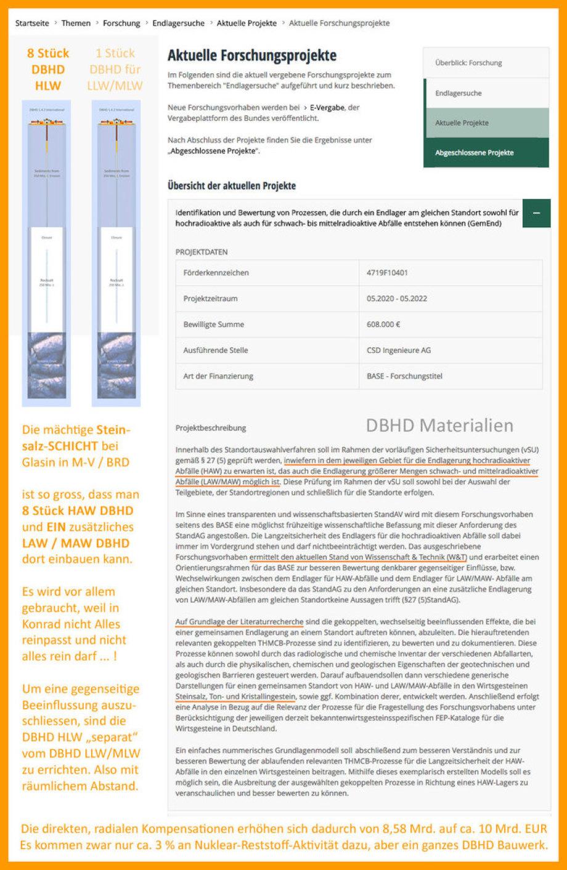 vorsichtige Ankündigung DBHD Nr. 9 für LLW und MLW aus Rückbau und Asse Resten
