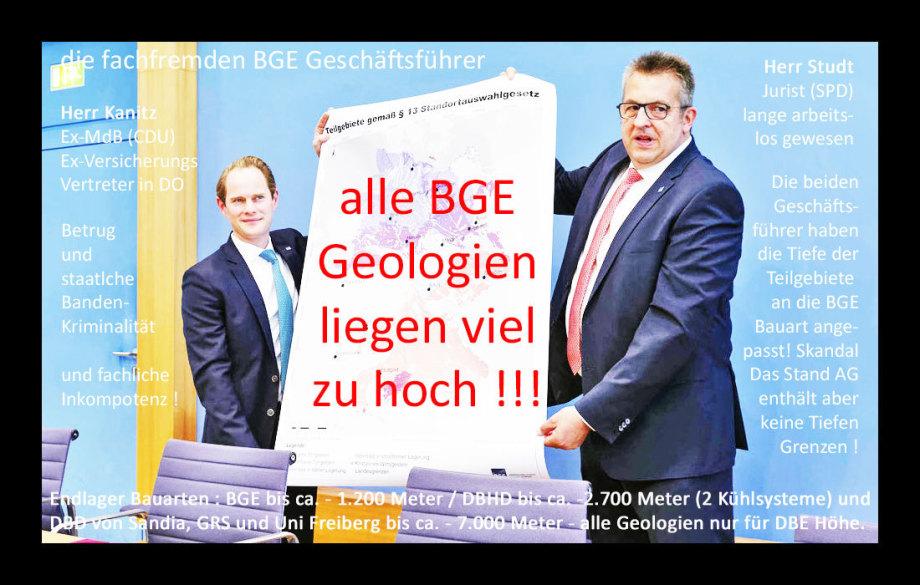 Alle BGE Geologien liegen viel zu hoch - NACH-ARBEITEN