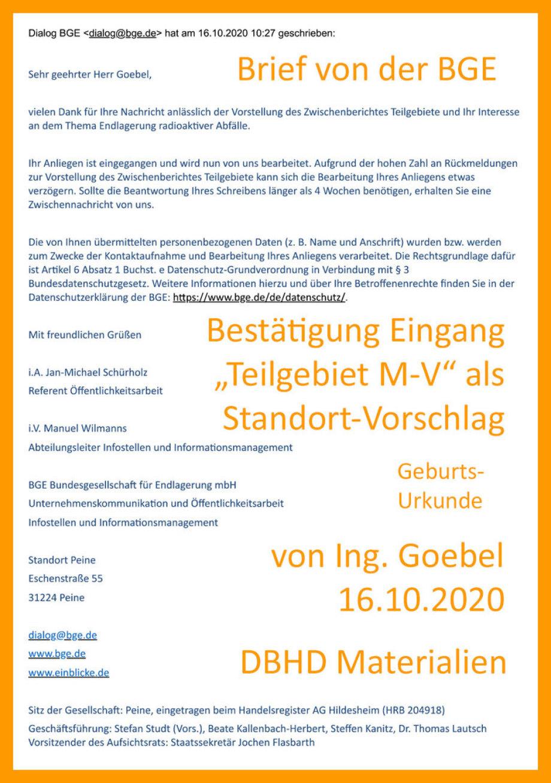 >>> Eingangs-Bestätigung der BGE mbH der Einreichung Teilgebiet M-V durch Bürger Ing. Goebel - Abdruck einer Email - Göbel zu Goebel geändert - #Beweis #Einreichung #Teilgebiet #MV #durch #IngGoebel - https://lnkd.in/dwUb9e3
