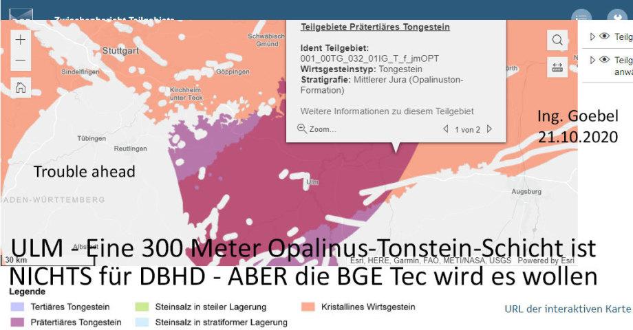 ULM - Eine 300 Meter Opalinus-Tonstein-Schicht ist NICHTS für DBHD - ABER die BGE Tec wird es wollen
