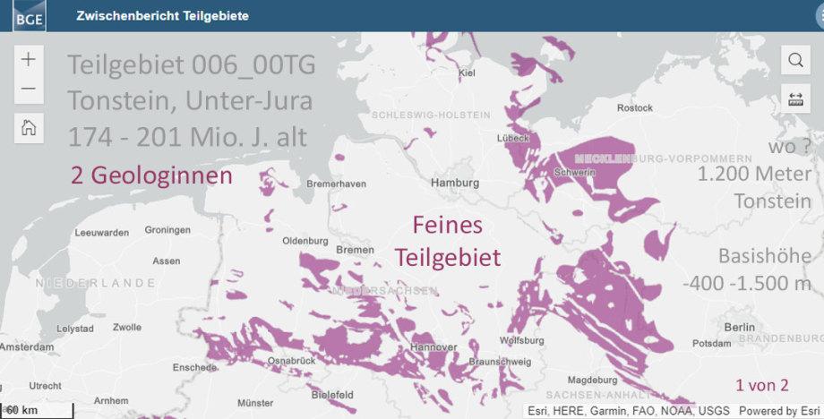 Teilgebiet 006_00TG Tonstein Unter-Jura 174 bis 201 Mio. Jahre alt - Feines Teilgebiet - Geologinnen - 1.200 Meter Tonstein - WO ? WO ? WO ? - Tiefe wurde in Aussicht gestellt