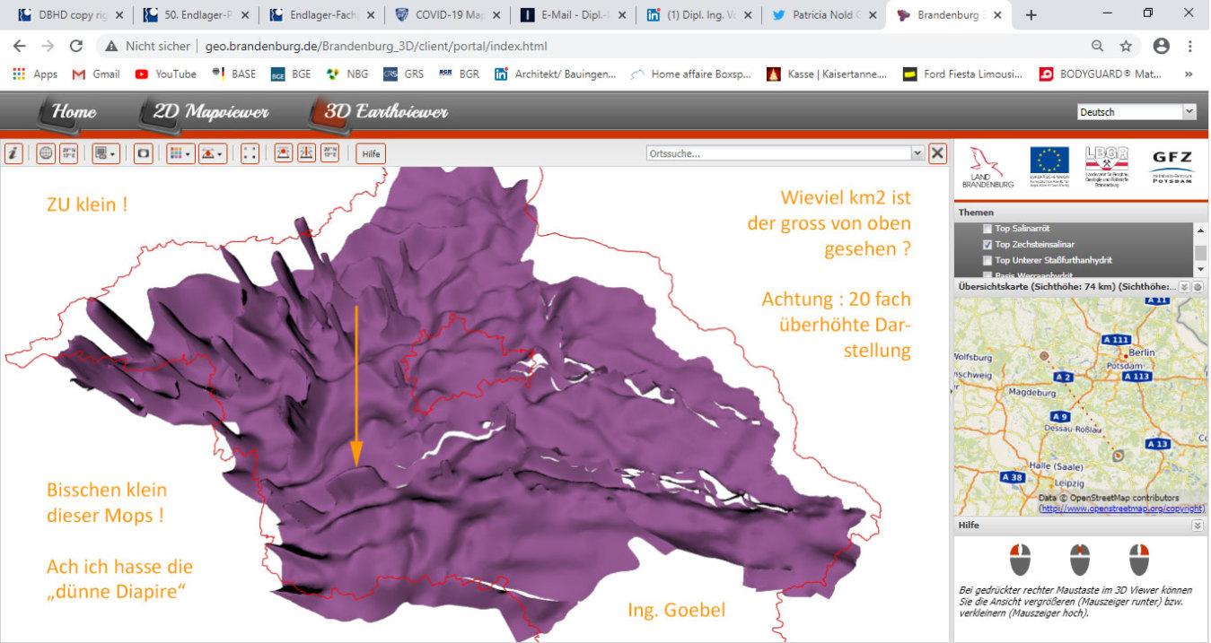 auf dem Brandenburger Geologie Daten Server ist Steinsalz in Lila verzeichnet