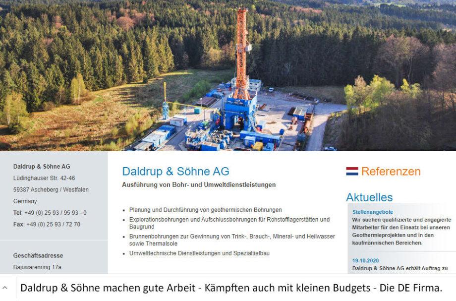 Tiefbohr-Unternehmen Daldrup und Söhne - die gut verbliebene Bohr-Firma in Deutschland