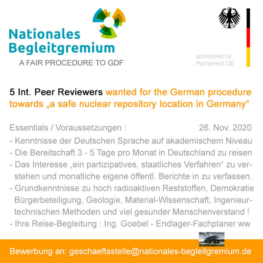 Internationale Peer Reviewer für Standort-Auswahl Verfahren gesucht