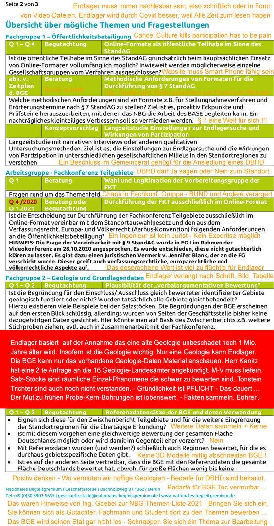 NBG Endlager Themen-Planung 2021 - Kommentar Ing. Goebel 2
