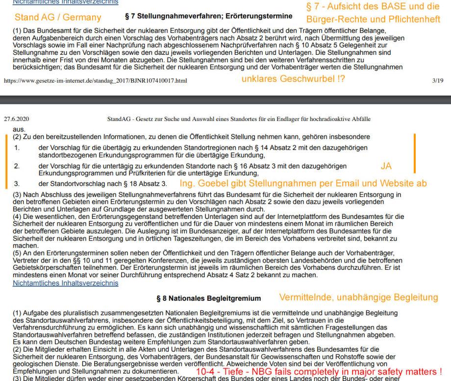 Paragraph 7 Stand AG - Stellungnahmen, Erörterungstermine