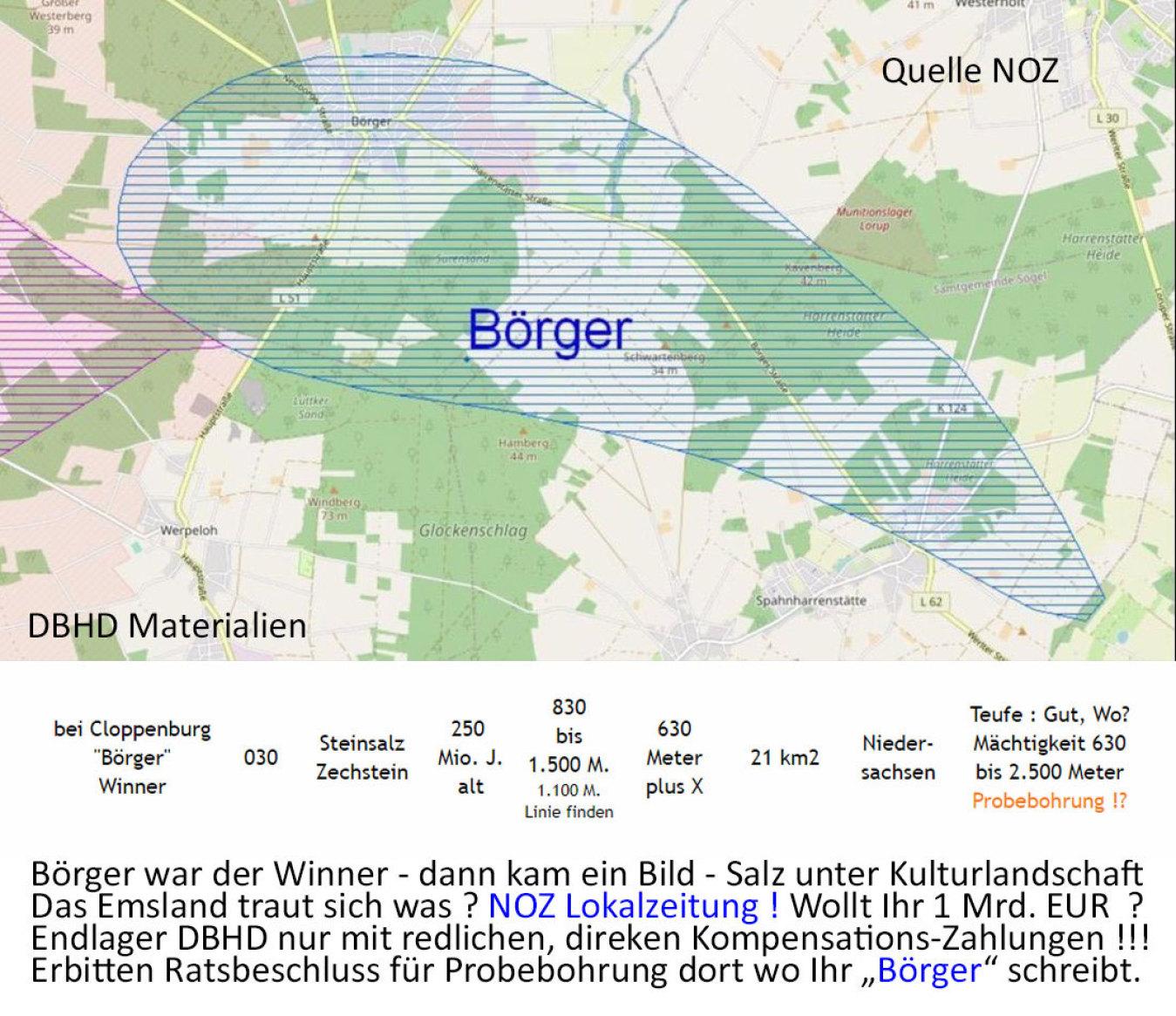 Beginn dokumentarische Einordnung Lageplan Börger in Standort-Auswahl Endlager Deutschlands