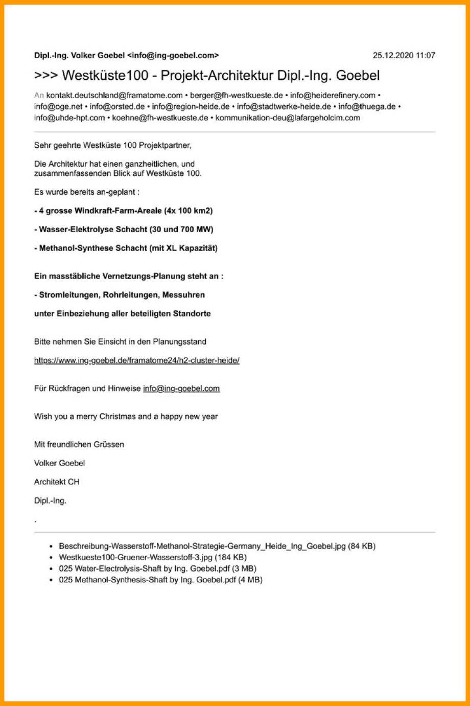 >>> Westküste100 - Projekt-Architektur Dipl.-Ing. Goebel #Architektur #Planung #Westküste100 #Heide #Windkraft #Wasserstoff #Methanol #IngGoebel - https://lnkd.in/d-9Sib2