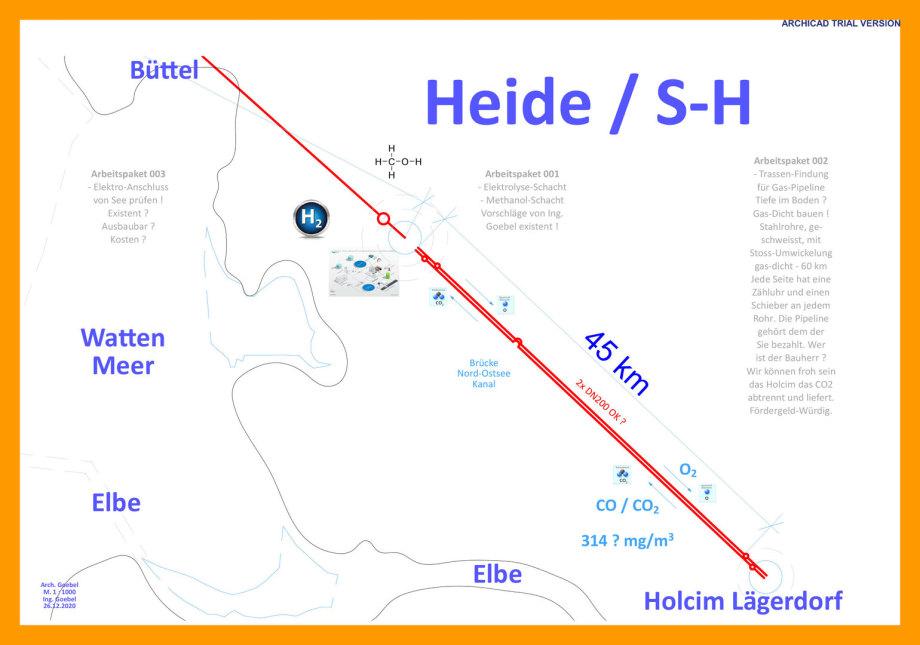 >>> Lageplan 03-Ing. Goebel-Büttel-Heide-Lägerdorf-mit-Arbeitspaketen - H2 - Methanol -Cluster DE Nord-West - Westkueste100.de #H2 #Wasserstoff #aus #Wind #Nacht #Strom #Cluster
