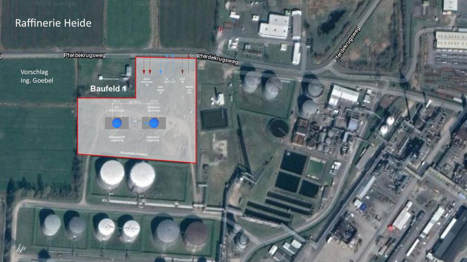 Vorschläge Ing. Goebel zu Beginn der Einpassungs-Planung 2 Schächte mit Anschlüssen Raffinerie Heide