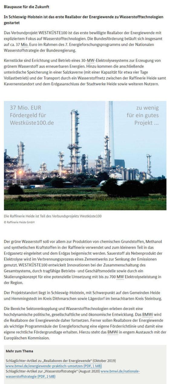 37 Mio. EUR sind zu wenig für vernünftige Elektrolyse und Synthese Schächte