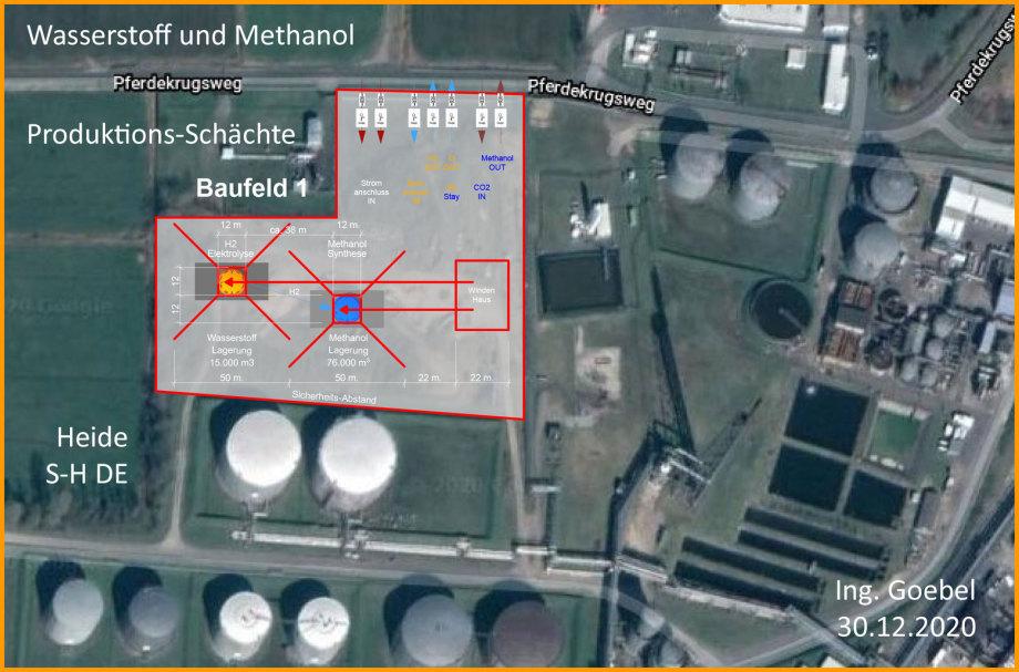 >>> Perfekte Einpassung Elektrolyse und Methanol-Schacht mit Rig und Windenhaus - Ing._Goebel - Heide - Raffinerie - Wasserstoff Sauerstoff Methanol - #Shaft #Production #Safety #Hydrogen #Oxigen #Methanol
