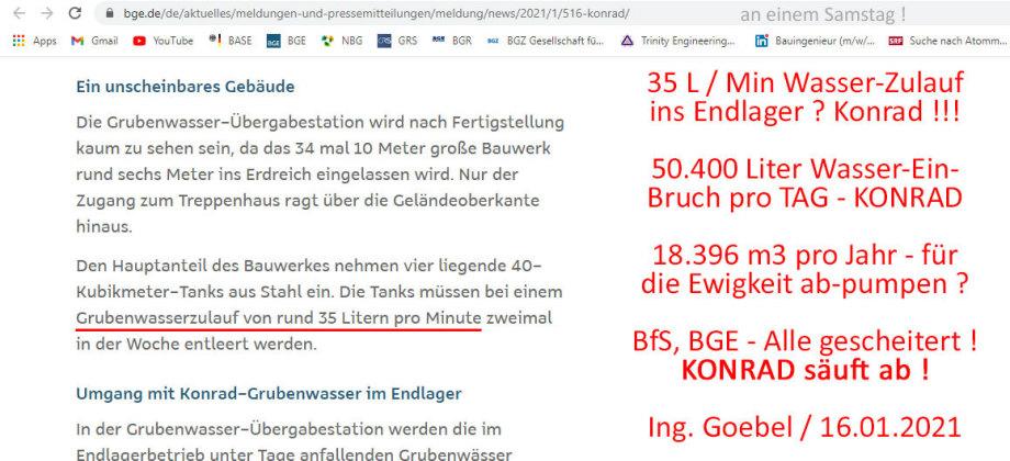 >>> Milliarden-Verlust - Endlager Konrad in Deutschland säuft ab. 50.400 Liter Wasser-Einbruch pro Tag - BGE Baustelle - #Konrad #säuft #ab #Milliarden #Verlust