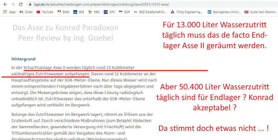 >>> Das Asse zu Konrad Paradoxon by Ing. Goebel - Asse bei 13.000 Liter/Tag Zutrittswässer geräumt - Konrad bei 50.400 Liter/Tag noch nicht geräumt - #Asse #Konrad #Paradoxon - https://lnkd.in/db6PT2T
