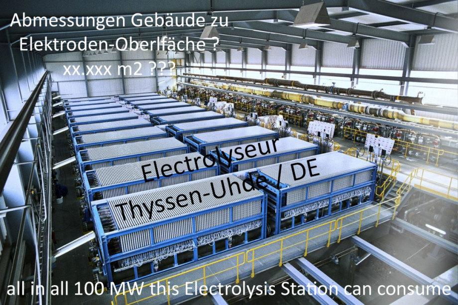 Besserer Elektrolyseur - aber wollen Sie 16 Gebäude dieser Art und Dimension - das fliegt eh alles in die Luft - Tausende von Anschlüssen