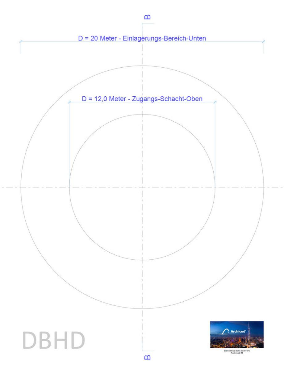 Die beiden wesentlichen Durchmesser eines DBHD Endlager-Schacht-Bergwerkes
