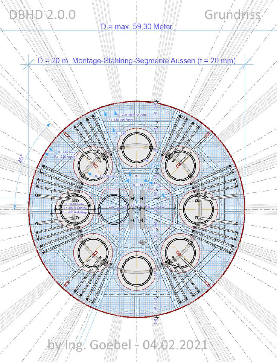 >>> Grundriss mit Abmessungen Einlagerung-Schacht DBHD 2.0.0 Endlager HLW >>> Floorplan with measurement Strorage-Shaft DBHD 2.0.0 Nucl. Repository #Grundriss #Floorplan #DBHD #Endlager #GDF #NuclearRepository