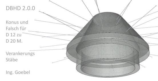 Räumliche Darstellung Konus und Flansch am Durchmesser-Wechsel