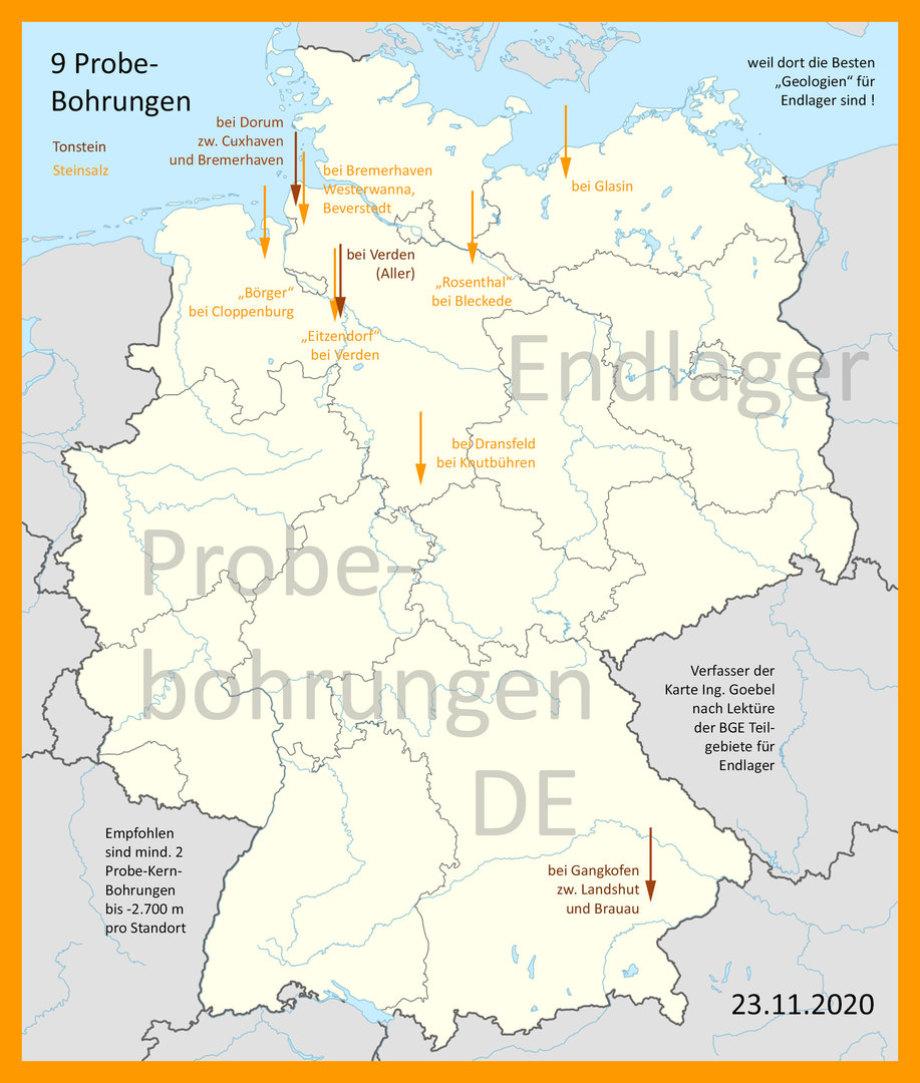 Karte DBHD Endlager-Standorte Deutschland - Probe-Bohrungen - Hinweis von Ing. Goebel