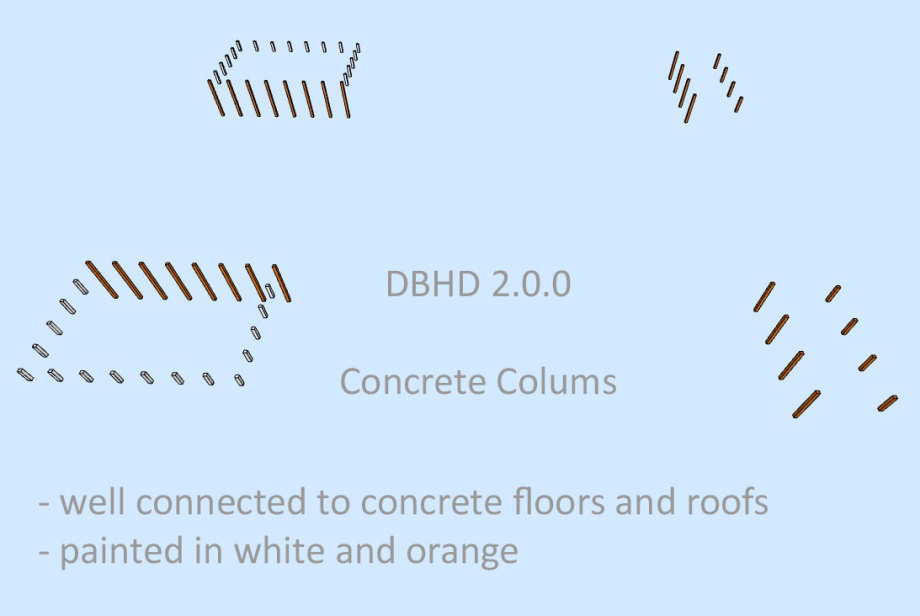 >>> Concrete columns within DBHD 2.0.0 - well connected to the concrete floors and the roofs - painted in white and orange - #DBHD #Concrete #Columns