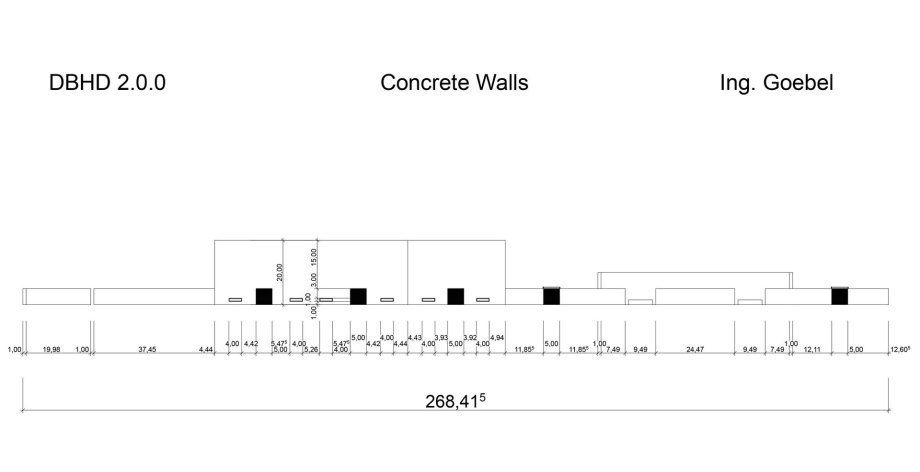 >>> Elevation of Concrete Walls DBHD 2.0.0 - because of the window heights - looks a bit strange, but combined with floors, roofs, colors and people - it makes perfectly sense - #DBHD #Walls #Elevation - calculate statics and price now