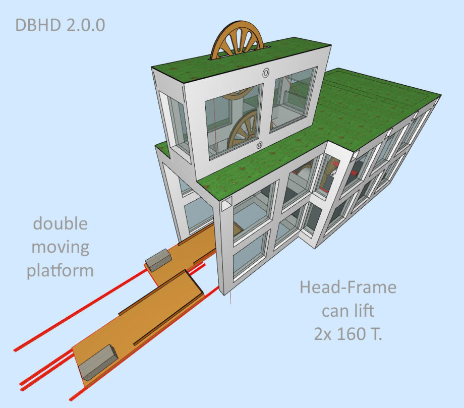 >>> DBHD 2.0.0 Head-Frame is a genius construction - One unit - lifts 2x 160 Tons - serves 2 cables simultaniously - it might be possible to move the head-frame to the next hole ... - #DBHD #HeadFrame #Double #Moveable #Platform #Soon #More