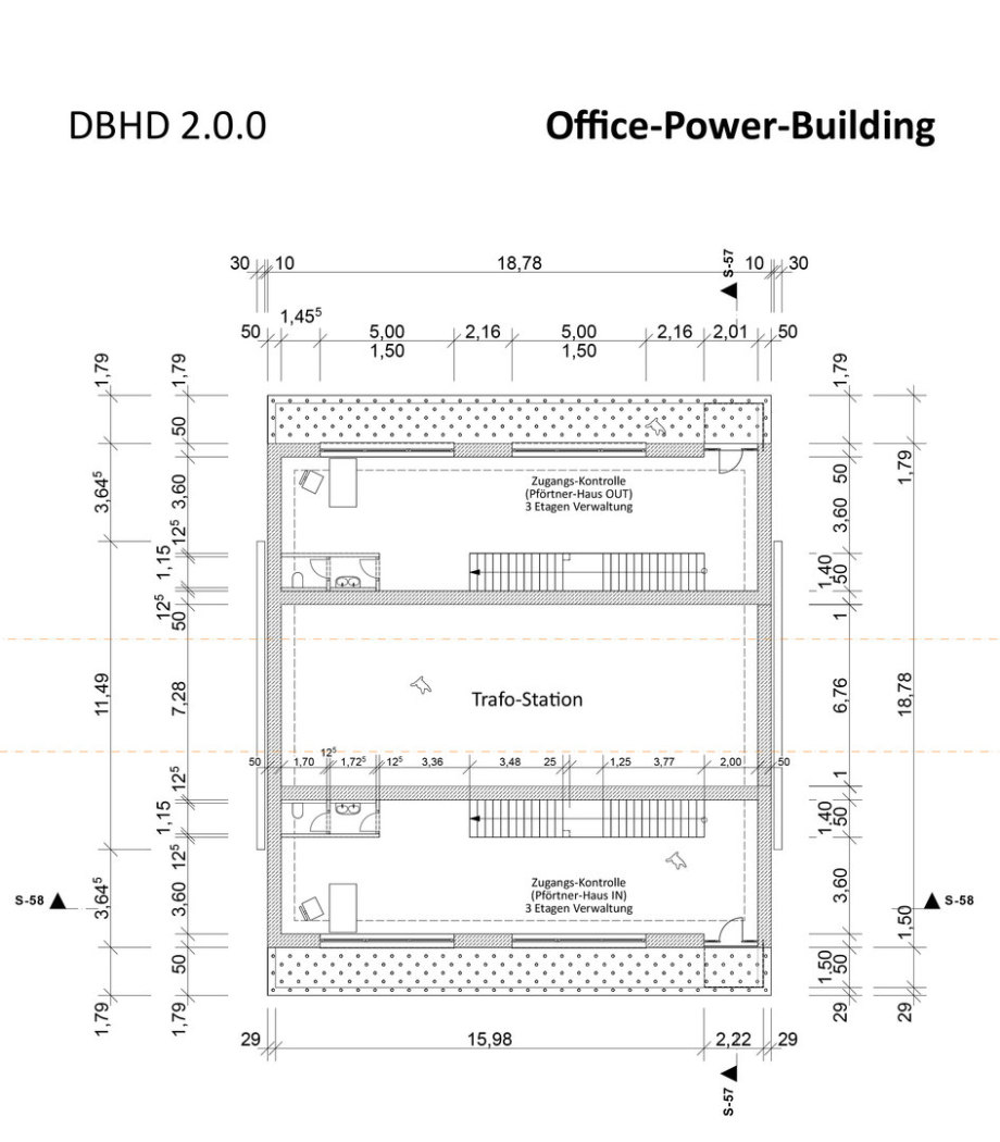 >>> a basic draft plan of the Office-Power-Building within the DBHD 2.0.0 building site - one third of the building is used for the electric power connection coming from the street - but enough office space too - #DBHD #Office #Power #Building #Floorplan