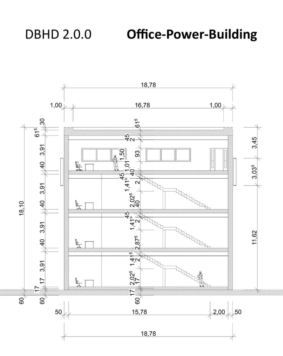 >>> another cut showing the Office-Power-Building for DBHD 2.0.0 building sites - the staircase section - nice room heights - useful - simple and with air conditioning - #DBHD #Office #Power #Building #Cut2