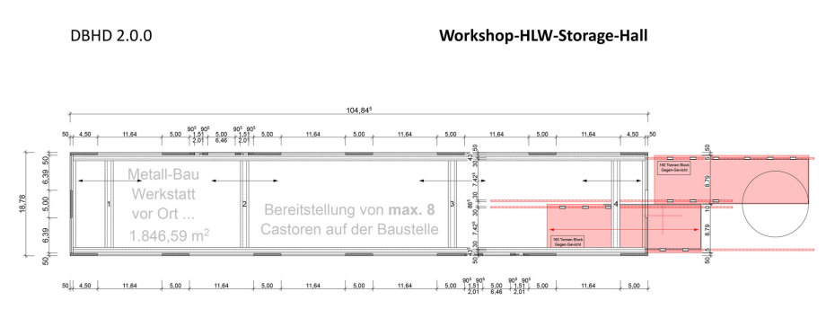>>> a first Floorplan of the Workshop-PreStorage-Hall - we need to be able to repair things - we need to pre-store 8 HLW Containers for one concrete pellet - but safety and an open wall ? - #DBHD #Door #Problem