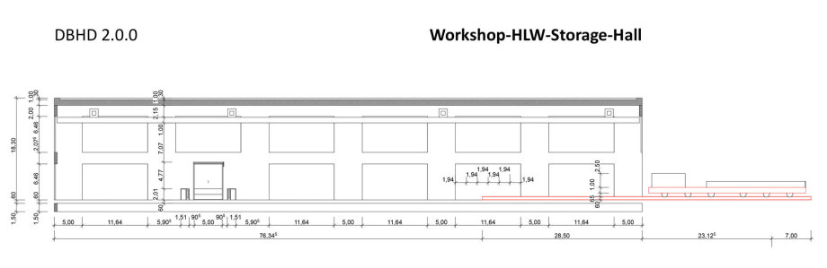 >>> Long Cut - Workshop-PreStorage-Hall DBHD 2.0.0 - i see 3 good facades - but having an open door - open wall in a hall where HLW Containers are stored ? - Anyone a clever idea ? - #DBHD #OpenWall #Problem - need clever door idea