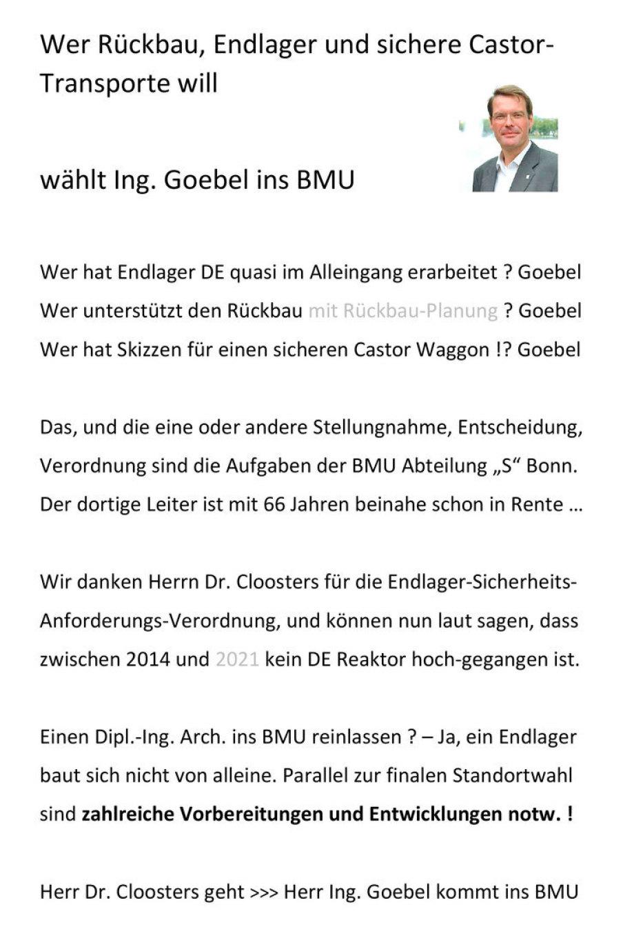 """Aufruf zur Wahl von Ing. Goebel ins BMU DE Abteilung """"S"""" Berlin Bonn - Nachfolge Dr. Cloosters"""