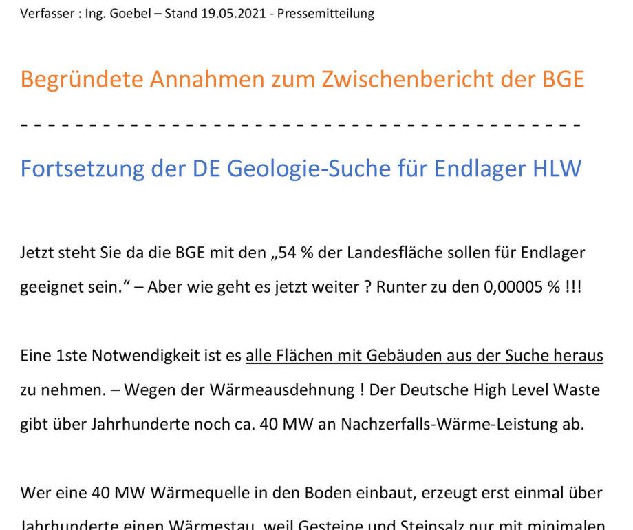 >>> Hinweise zur Standort-Suche für Endlager DE - BGE - DBHD
