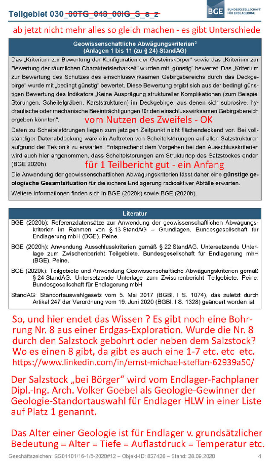 >>> Der Teilbericht Endlager Geologien kann / muss besser werden - #BGE >>> The geology description in Germany can / must be improved - #BGE Hier finden Sie Kritik und Verbesserungs-Vorschlage von - #Endlager