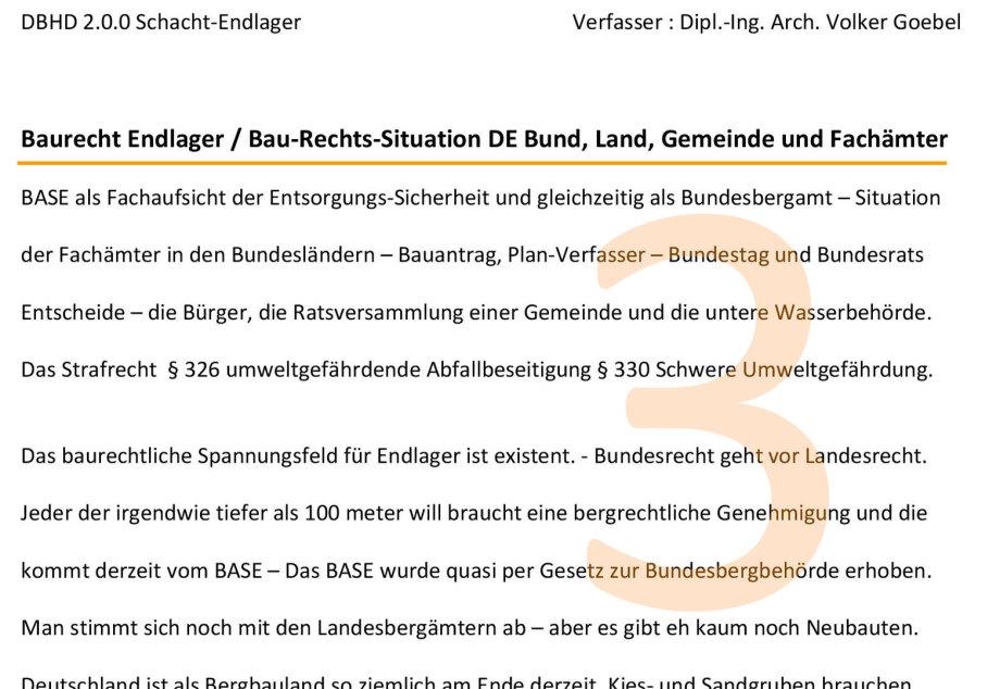 Artikel zum Baurecht für Endlager in DE