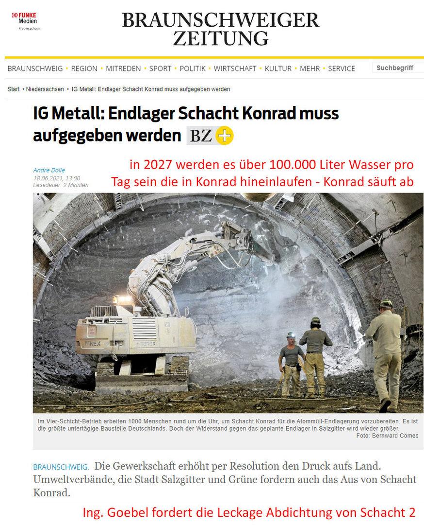immer mehr Gruppen wollen das Konrad aufgegeben wird - Goebel will die Abdichtung